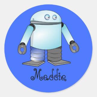 Funny Blue Cartoon Robot Classic Round Sticker