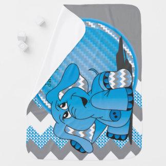 Funny Blue Chevron Elephant Baby Blanket