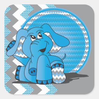 Funny Blue Chevron Elephant Stickers