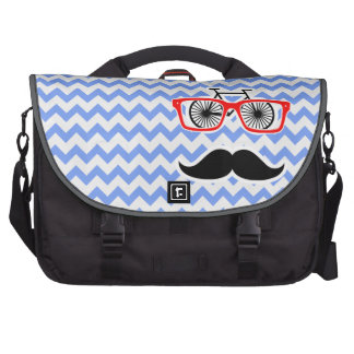 Funny Blue Chevron Hipster Bag For Laptop