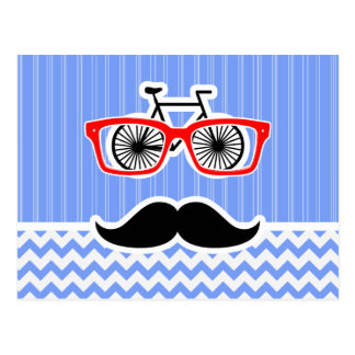 Funny Blue Chevron Hipster Postcard