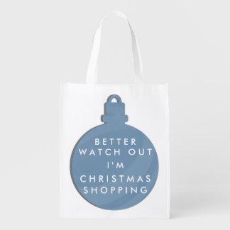 Funny Blue Christmas Bauble Reusable Bag Grocery Bag