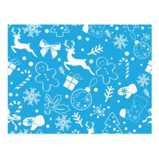 Funny Blue Christmassy Pattern Postcard