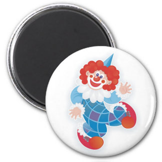 funny blue clown 2 inch round magnet