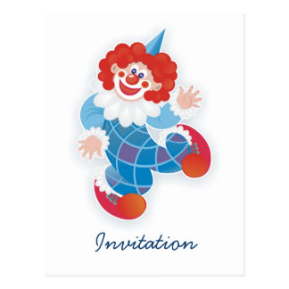 funny blue clown party invitation postcard