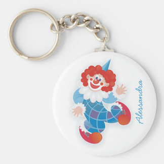 funny blue clown with your name basic round button keychain