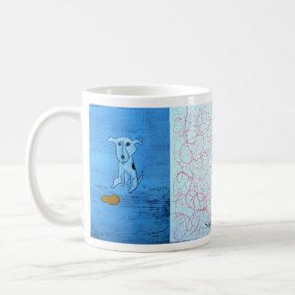 Funny Blue Dog Art by Dan Robertson Coffee Mug