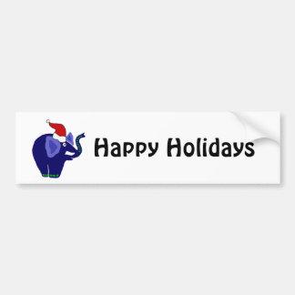 Funny Blue Elephant in Santa Hat Bumper Sticker