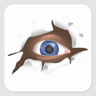 Funny Blue Eye Staring From Inside a Ripped Page Square Sticker