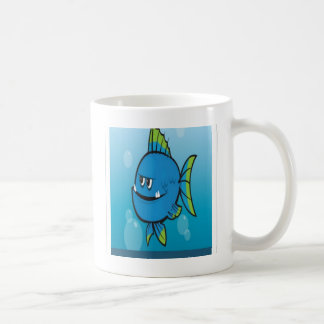 Funny blue fish design coffee mug