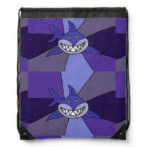 Funny Blue Grinning Shark Drawstring Backpack