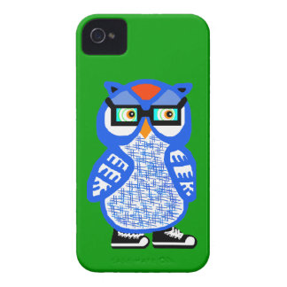 Funny Blue Hipster Owl Green iPhone 4 Case