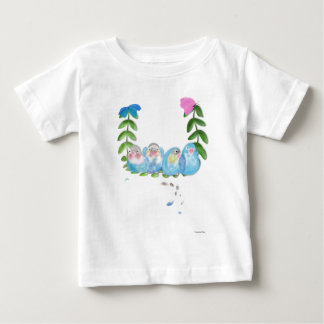 Funny Blue lovebirds with butterflies Baby T-Shirt