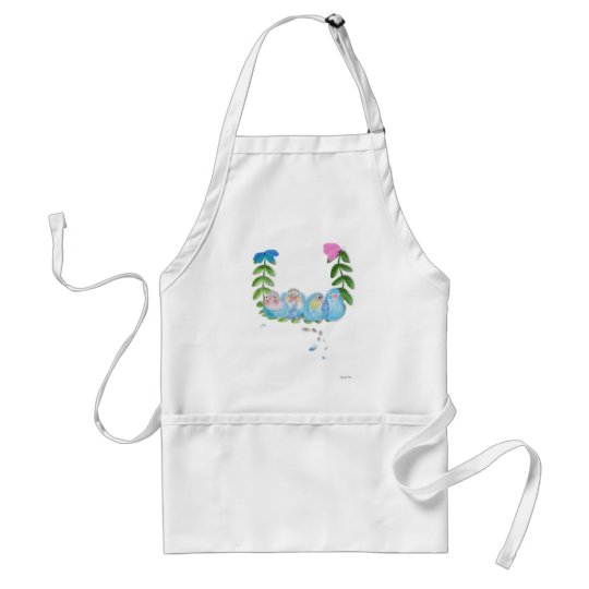 Funny blue lovebirds with butterflies Watch Adult Apron