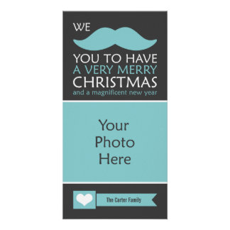 Funny Blue Mustache Christmas Photo Card