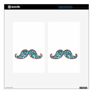 FUNNY BLUE MUSTACHE GLITTER DECAL FOR KINDLE FIRE