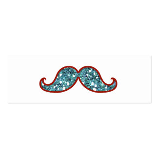 FUNNY BLUE MUSTACHE GLITTER Double-Sided MINI BUSINESS CARDS (Pack OF 20)