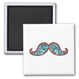 FUNNY BLUE MUSTACHE GLITTER REFRIGERATOR MAGNETS