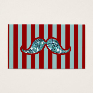 FUNNY BLUE MUSTACHE GLITTER RED STRIPES BUSINESS CARD