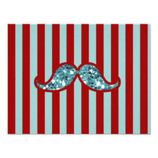 FUNNY BLUE MUSTACHE GLITTER RED STRIPES CARD