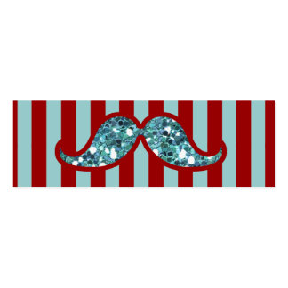 FUNNY BLUE MUSTACHE GLITTER RED STRIPES Double-Sided MINI BUSINESS CARDS (Pack OF 20)