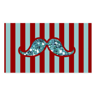 FUNNY BLUE MUSTACHE GLITTER RED STRIPES Double-Sided STANDARD BUSINESS CARDS (Pack OF 100)