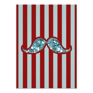FUNNY BLUE MUSTACHE GLITTER RED STRIPES 4.5X6.25 PAPER INVITATION CARD
