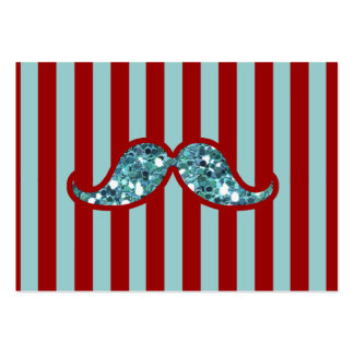FUNNY BLUE MUSTACHE GLITTER RED STRIPES LARGE BUSINESS CARDS (Pack OF 100)