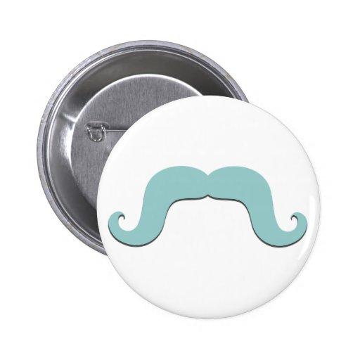 Funny Blue Mustache Pinback Button