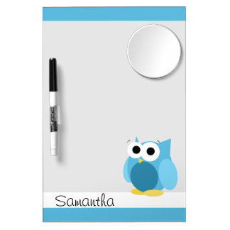 Funny Blue Owl - Dry Erase Board with Mirror
