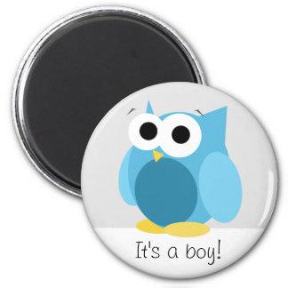 Funny Blue Owl - It's a boy! - Magnet