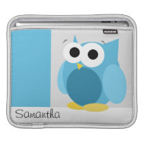 Funny Blue Owl - Personalized iPad Sleeve