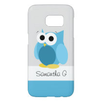 Funny Blue Owl - Personalized Samsung Galaxy S7