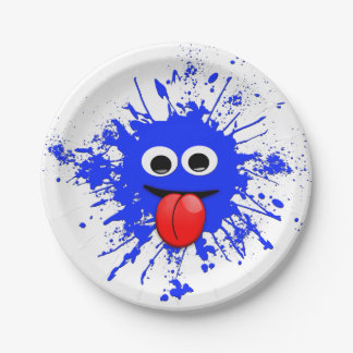 Funny Blue Paint Splat Dude 7 Inch Paper Plate