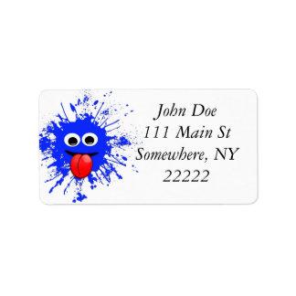 Funny Blue Paint Splat Dude Label