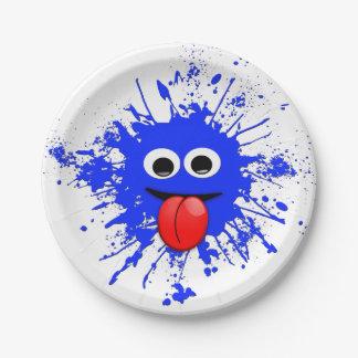 Funny Blue Paint Splat Dude Paper Plate