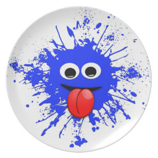 Funny Blue Paint Splat Dude Dinner Plates