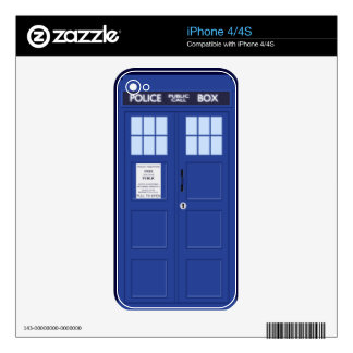 funny blue police box iphone 4/4s skin iPhone 4 skins