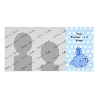 Funny Blue Rabbit Cartoon. Photo Card Template