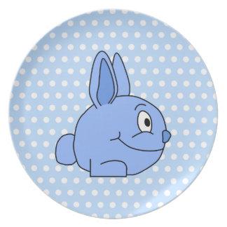 Funny Blue Rabbit Cartoon. Dinner Plates