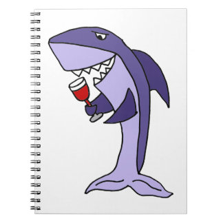 Funny Blue Shark Drinking Glass of Red Wine Spiral Notebooks