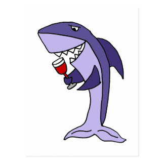 Funny Blue Shark Drinking Glass of Red Wine Postcard
