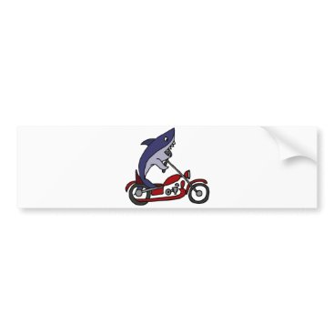 Beach Themed Funny Blue Shark Riding Red Motorcycle Bumper Sticker