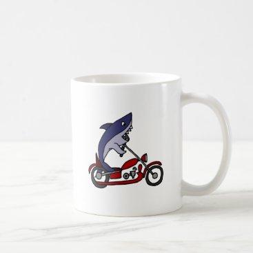 Beach Themed Funny Blue Shark Riding Red Motorcycle Coffee Mug