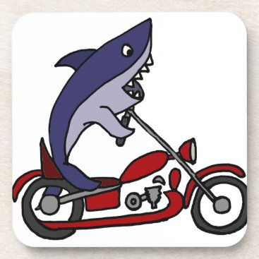 Beach Themed Funny Blue Shark Riding Red Motorcycle Drink Coaster