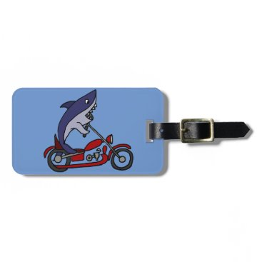 Beach Themed Funny Blue Shark Riding Red Motorcycle Luggage Tag