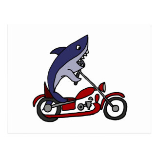 Funny Blue Shark Riding Red Motorcycle Postcard