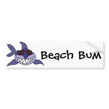 Beach Themed Funny Blue Shark with Sunglasses Bumper Sticker