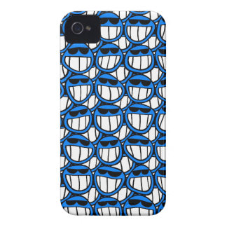 Funny Blue Smiley Faces with Shades iPhone 4 Cover