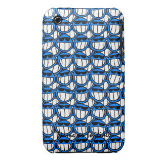 Funny Blue Smiley Faces with Shades iPhone 3 Case-Mate Case